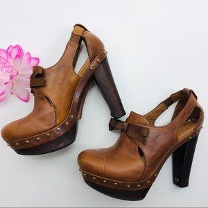Ugg Celestina Brown studded platform leather heels